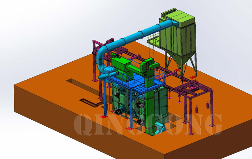 overhead rail shot blasting machine 2